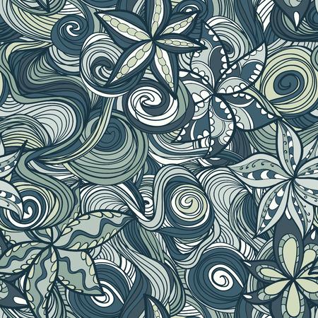 seamless texture: Zusammenfassung Blumenmuster mit bunten bl�henden Blumen und Wellen, nahtlose Textur Illustration