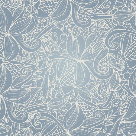 Abstract seamless hand-drawn pattern. Use as pattern fill or surface texture. Full color seamless floral wavy background Иллюстрация