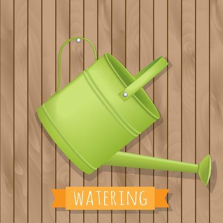шпон: полива сада иллюстрации на деревянном фоне Иллюстрация