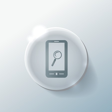 smartphone with the symbol magnifying glass. Illustration