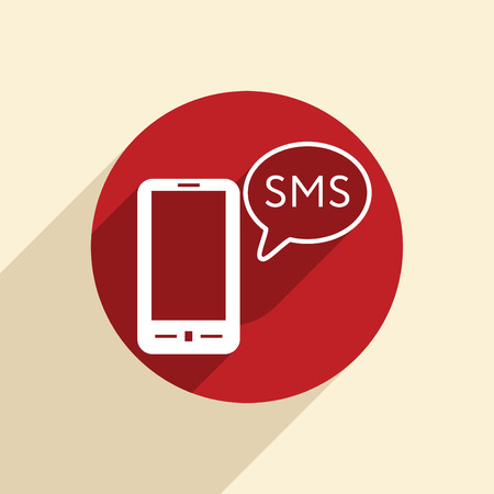 smartphone with the symbol of  cloud of sms dialogue Illustration