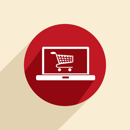 notebook with symbol shopping cart, shopping in Internet-shop Vector