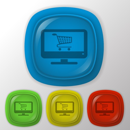 monitor with symbol shopping cart, shopping in Internet-shop
