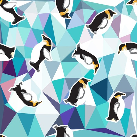 abstract blue crystal ice background with penguin. seamless pattern, use as a surface texture Vector