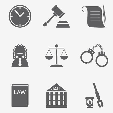judge hammer: law judge icon set, justice sign Illustration