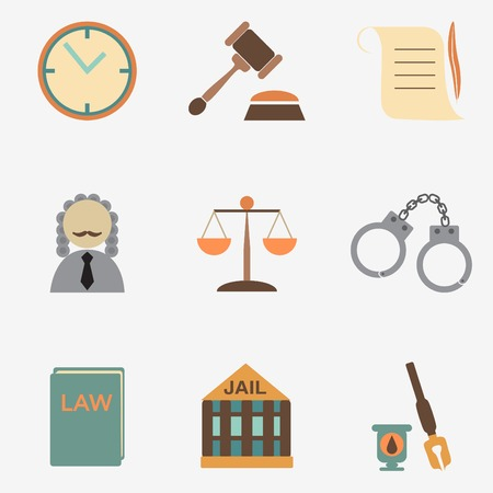 justice hammer: law judge icon set, justice sign Illustration