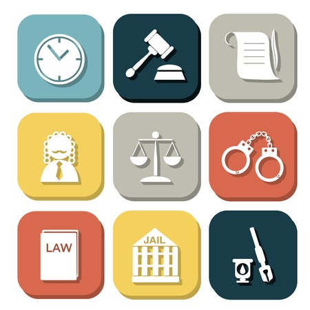 law judge icon set, justice sign Illustration