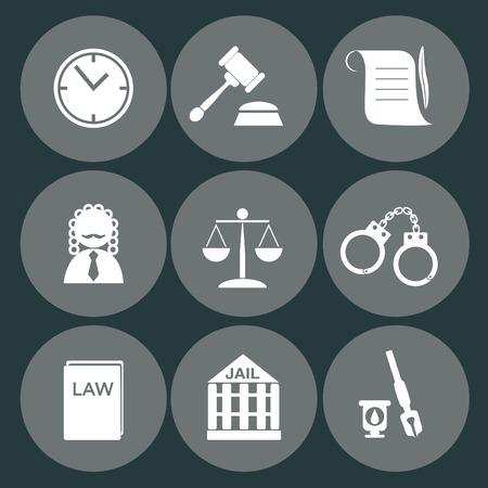 prosecutor: giudice di diritto icona set, segno della giustizia