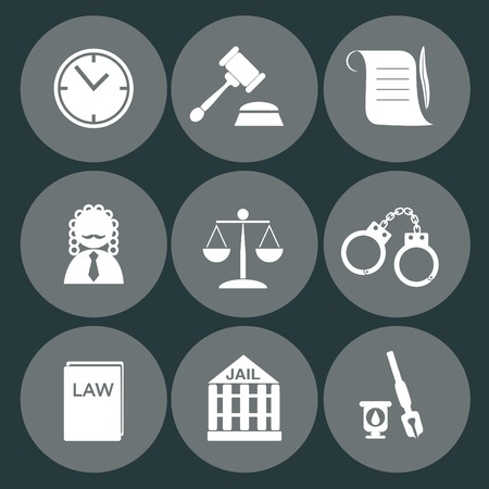 scales of justice: law judge icon set, justice sign Illustration