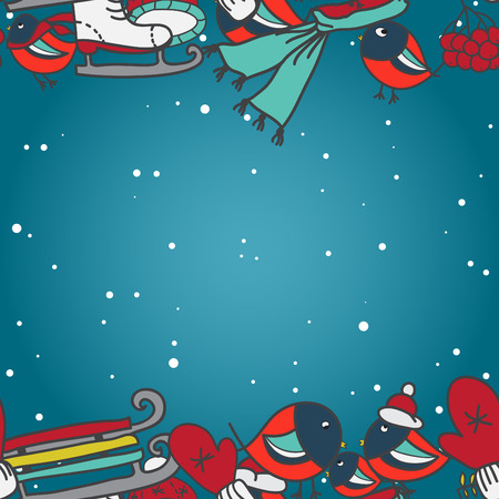 Winter seamless border with bullfinches and sleds mittens cap skates Vector