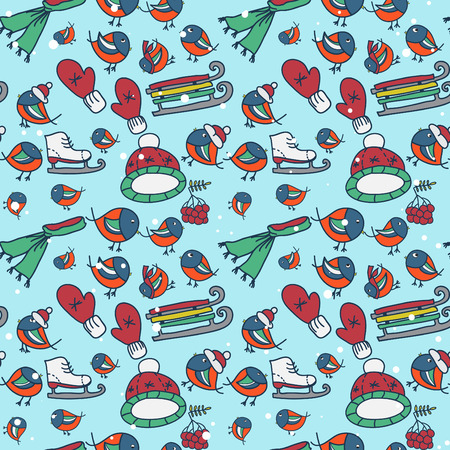 Winter seamless texture with bullfinches and sleds mittens cap skates Vector