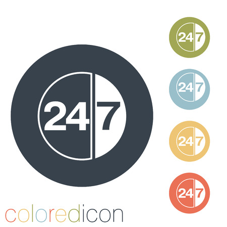 character 24 7 sign. Vector