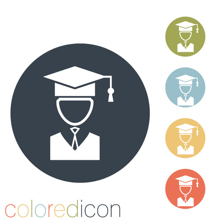 learner: graduate hat avatar sign. the head of the student learner. Education sign Illustration