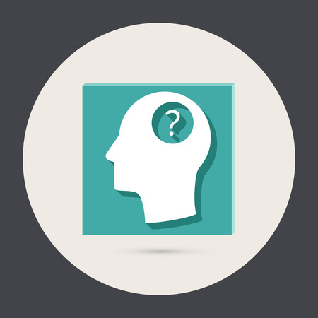 Head with a question mark. Avatar wonders. Icon help Illustration