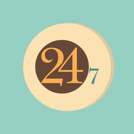 24h: character 24 7 sign. symbol icon clock service