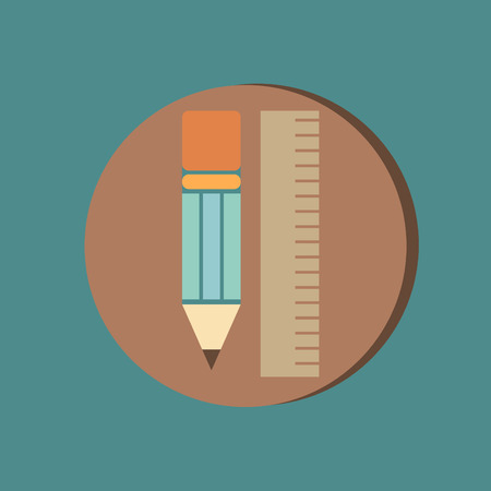 ruler and pencil. characters geometry. Education sign, symbol icon drawing and geometry Vector