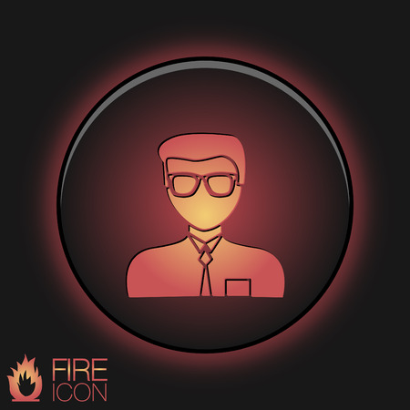 A male avatar. Picture a man. Round icon image guy in glasses and tie . Manager or an office worker . Vector