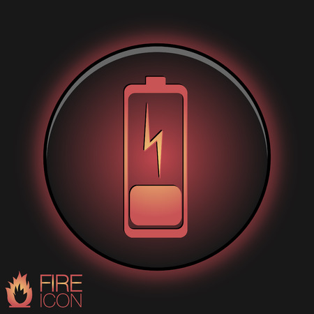 discharges: discharged battery. symbol a discharged battery. icon energy