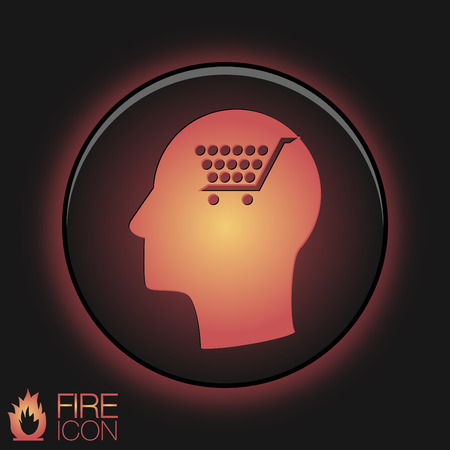Vector Icon head think silhoutte vector man and his mind about cart online store, Internet shop. basket shopping Vector