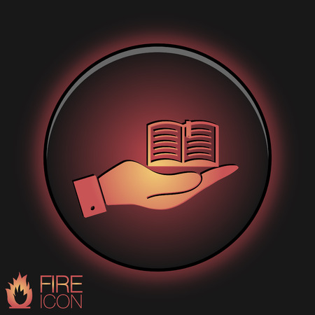 hand holding a open book sign. Education sign, symbol icon book with a bookmark or notebook . Vector