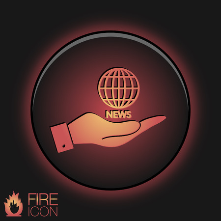 hand holding a globe symbol. news. Symbol news. Icon globe planet Vector