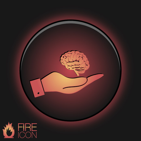 hand holding a Brain.  Mind and science Vector
