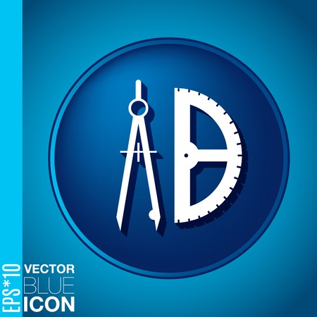 the compass and protractor. characters geometry. Education sign. symbol icon drawing and geometry Vector