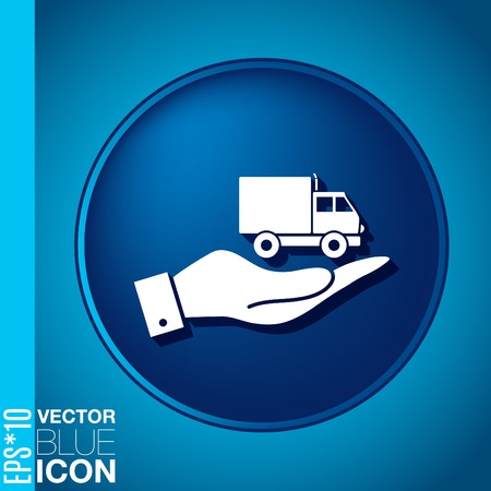 hand holding a Truck. Logistic icon. Transportation symbol. symbol icon laden truck. carriage of the goods or things Vector