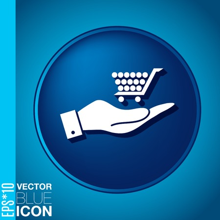 hand holding a cart online store, Internet shop. basket shopping Vector