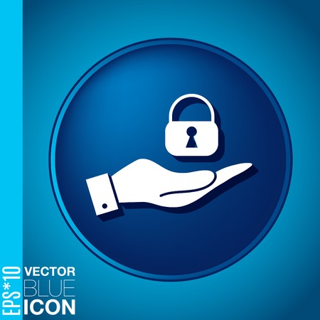 hand holding a padlock symbol Vector