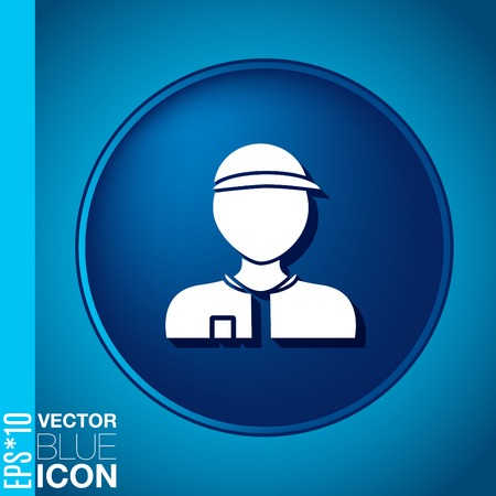 A male avatar. Picture a man. Round icon image Man wearing a cap. worker or employee Vector