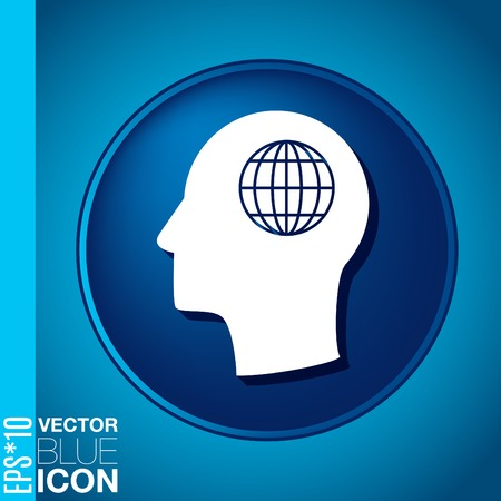 Vector Icon head think silhoutte vector man and his mind about  globe symbol. news. Symbol news. Icon globe planet Vector