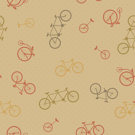 Retro bicycle pattern, hipster background. Seamless texture Illustration