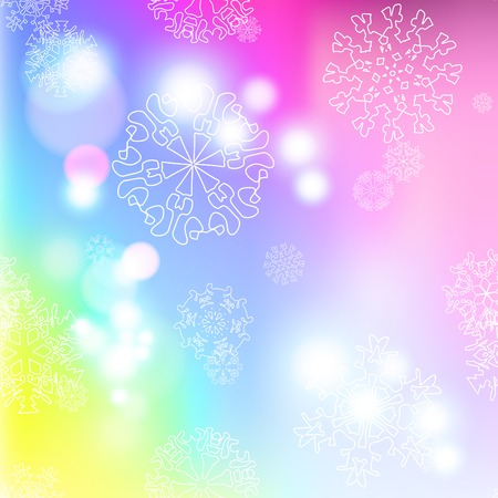 New year multicolor blur background with snowflakes