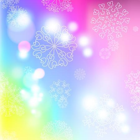 Neues Jahr mehrfarbige Unschärfe Hintergrund mit Schneeflocken Illustration