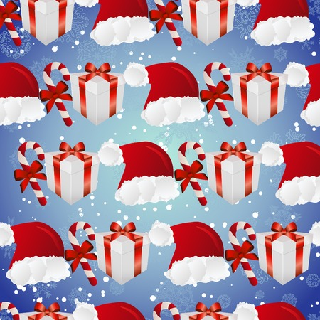New year pattern with Santa hat, gift and striped candy. Backdrop with snowflakes. Vector