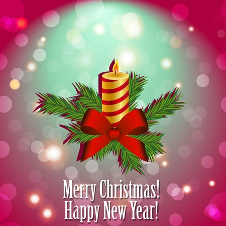 advent candles: Christmas candle with fir branches and a bow of ribbon.  New Year greeting card. Congratulations On Christmas. Sparkles and bokeh. Shiny and glowing Illustration