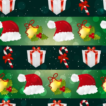 New year pattern with Santa hat, gift, Christmas tree toys, and striped candy. Sparkles and bokeh. Shiny and glowing Vector