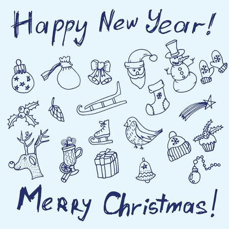 campanas de navidad: Esbozo de Navidad. La escritura y la impresión. Enhorabuena con Año Nuevo y la Navidad en estilo tipográfico. Objetos de la Navidad para su diseño. Se puede utilizar para diseñar tarjetas de felicitación