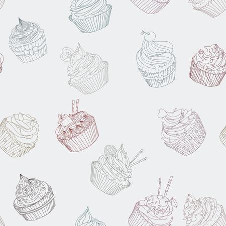 Cupcake pattern. Seamless Sweet food texture. Use as a pattern fill Çizim