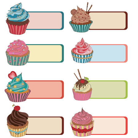 bakery price: The price tag label with a cupcake. Write the text at the top. Set of different cupcakes.