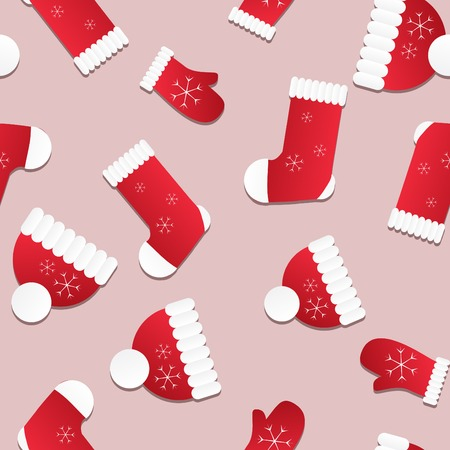 Seamless Christmas pattern. Seamless texture with red hats, mittens and socks. Vector