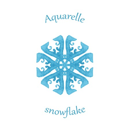 aquarelle: aquarelle snowflake, hand drawn watercolor winter symbol Illustration