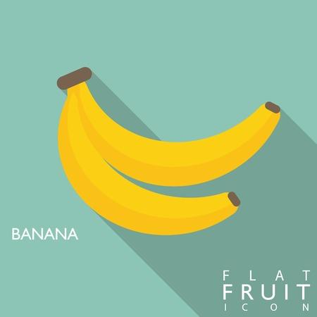 Banana Flach Symbol mit langen Schatten. Verwenden Sie als Symbol oder Grußkarte