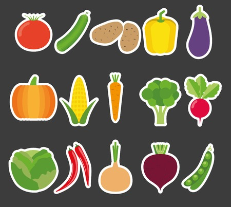 vegetable flat icon set. Vector