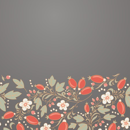 barbery: barberry border, hand-drawn berry pattern. place text on the top