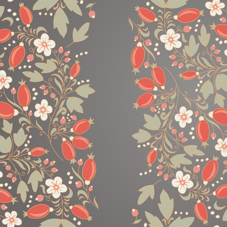 barberry: barberry border, hand-drawn berry pattern. place text on the top