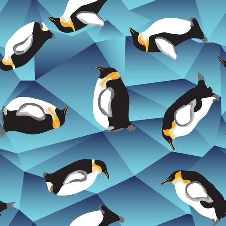 penguin pattern, abstract blue crystal ice background with penguin. seamless pattern, use as a surface texture Vector
