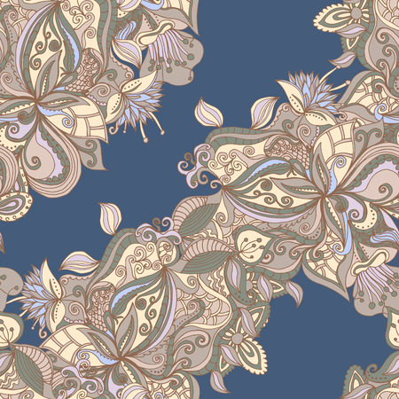 Abstract seamless hand-drawn pattern. Floral wavy texture. Use as pattern fill or surface texture. Full color seamless floral wavy background Иллюстрация