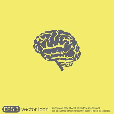 cerebro humano: Icono del cerebro. La mente y la ciencia